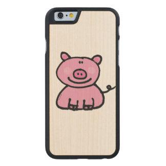 pink piggy carved maple iPhone 6 slim case