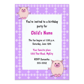 Pink Piggy Children's Birthday Invitation