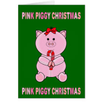 Pink Piggy Christmas Card