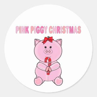 Pink Piggy Christmas Classic Round Sticker