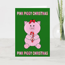 Pink Piggy Christmas Holiday Card