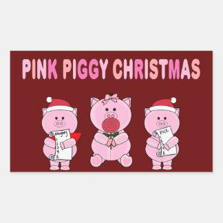 Pink Piggy Christmas Rectangular Sticker