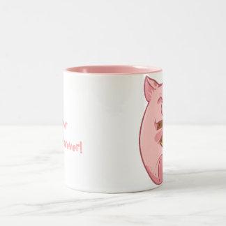 pink piggy eating cookie mug