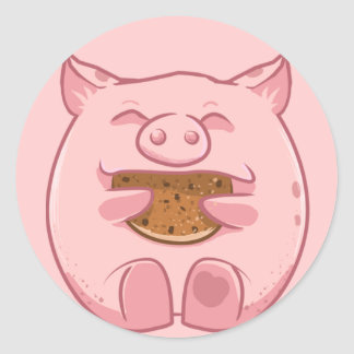 pink piggy eating cookie sticker