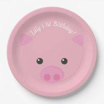 Pink Piggy Face Paper Plate