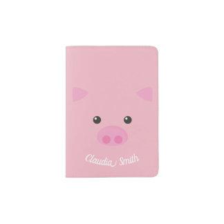 Pink Piggy Face Passport Holder