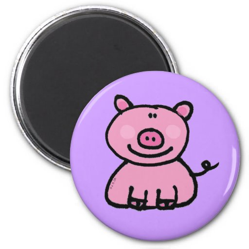 Pink piggy fridge magnet