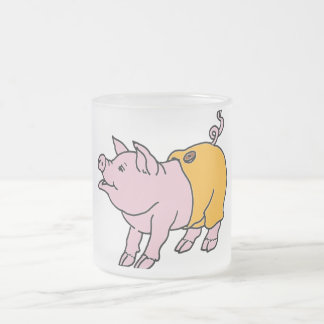 Pink Piggy in Orange Pants 10 Oz Frosted Glass Coffee Mug