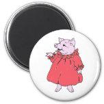 Pink Piggy in Pretty Dress Magnets