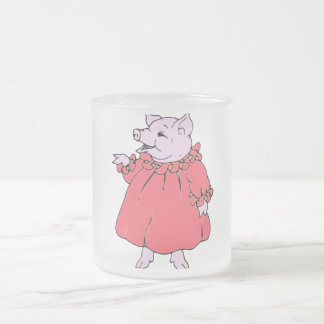 Pink Piggy in Pretty Dress 10 Oz Frosted Glass Coffee Mug