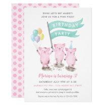 Pink Piggy Kids Birthday Party Invitation
