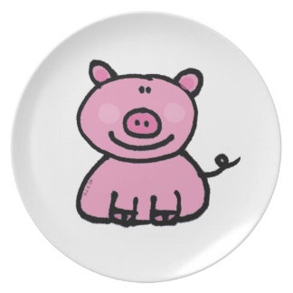 pink piggy melamine plate