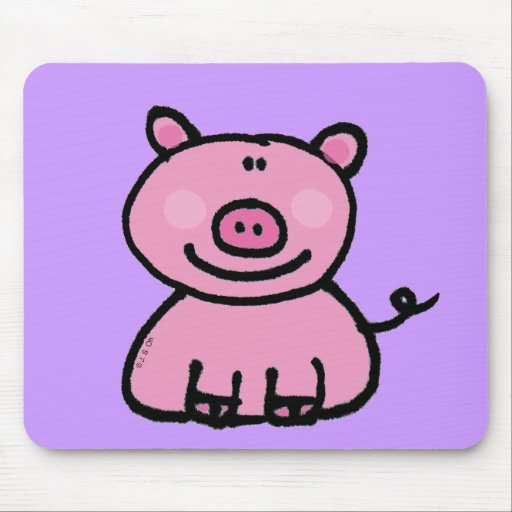 Pink piggy mouse pad