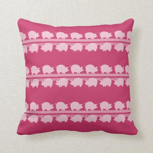 Pink Piggy Parade Throw Pillow