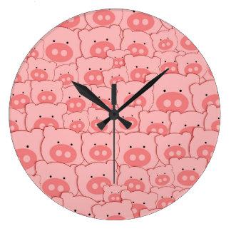 Pink Piggy Pigs Large Clock