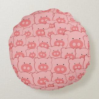 Pink Piggy Pigs Round Pillow