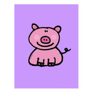Pink piggy postcard