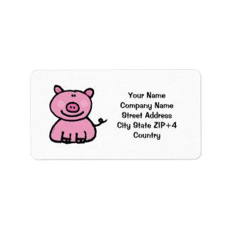 Pink piggy return address label