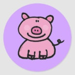 Pink piggy round stickers