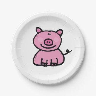 pink piggy 7 inch paper plate