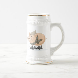 Pink Piggy Skating Beer Stein