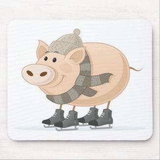 Pink Piggy Skating Mouse Pad