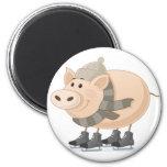 Pink Piggy Skating Refrigerator Magnets