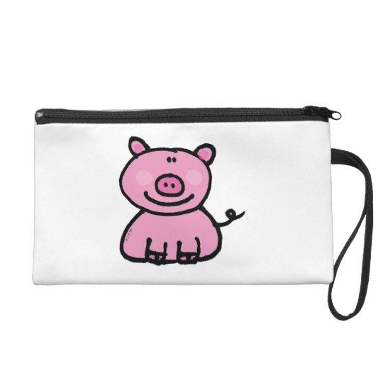 pink piggy wristlet purse