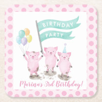 Pink Piggys Kids Birthday Party Square Paper Coaster