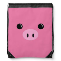 Pink Piglet Cute Animal Face Design Drawstring Backpack