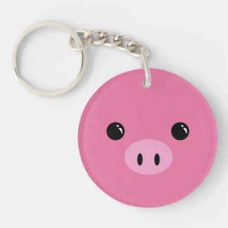 Pink Piglet Cute Animal Face Design Keychain