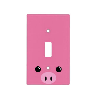 Pink Piglet Cute Animal Face Design Light Switch Cover