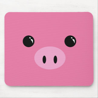 Pink Piglet Cute Animal Face Design Mouse Pad