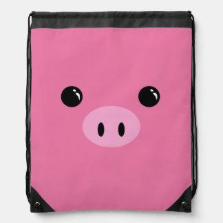 Pink Piglet Cute Animal Face Design Drawstring Backpack