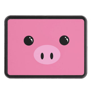 Pink Piglet Cute Animal Face Design Tow Hitch Covers