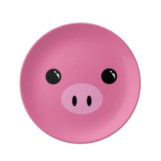 Pink Piglet Cute Animal Face Design Plate