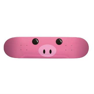 Pink Piglet Cute Animal Face Design Skateboard Deck