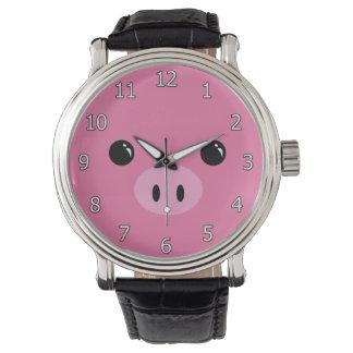 Pink Piglet Cute Animal Face Design Wrist Watch