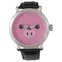 Pink Piglet Cute Animal Face Design Wrist Watches