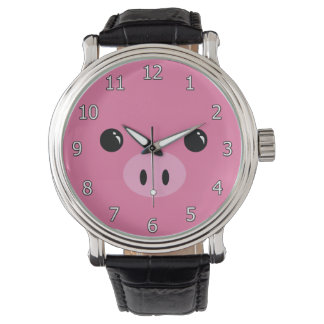 Pink Piglet Cute Animal Face Design Wrist Watches