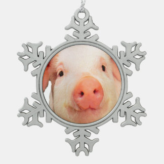 """Pink piglet design"" products Snowflake Pewter Christmas Ornament"