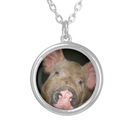 Pink Piglet Round Pendant Necklace