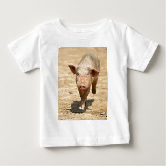 Pink piglet running front baby T-Shirt