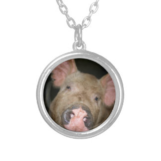 Pink Piglet Silver Plated Necklace