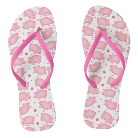 Pink Pigs Flip Flops