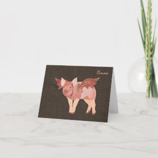 Pink Pigs Fly Polkadot Personalized Notecard