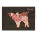Pink Pigs Fly Polkadot Personalized Notecard Stationery Note Card