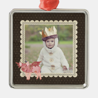 Pink Pigs Fly Polkadot Photo Ornament