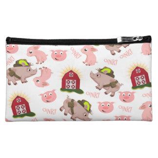 Pink Pigs Pattern Makeup Bag