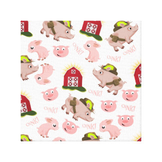 Pink Pigs Pattern Canvas Print